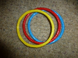 Pool rings to stack on a peg.