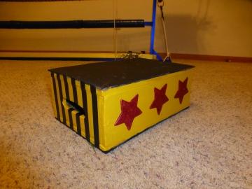 The platform box I made for Dash in December.