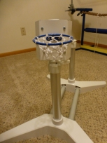 """Our micro basketball hoop to use with an itty-bitty ball. The hoop part came from my niece's """"Build a Bear Workshop"""" accessory."""