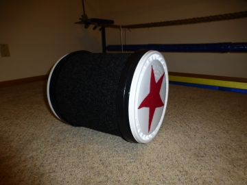 Dash's small, carpeted barrel that I made in December.