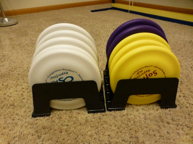 Dash's expensive brand-new Hyperflite frisbees... which we are now afraid to use again after the dislocated hip!