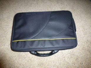"""Got this brand-new """"suitcase"""" (actually a medical bag for a cochlear implant) at Goodwill. It had a ton of embroidery on it which took a couple evenings to remove. I accidentally put some small holes in it, so I'm now getting an iron-on patch to cover those."""